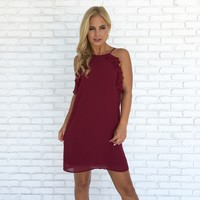 Gala Ruffle Shift Dress in Burgundy