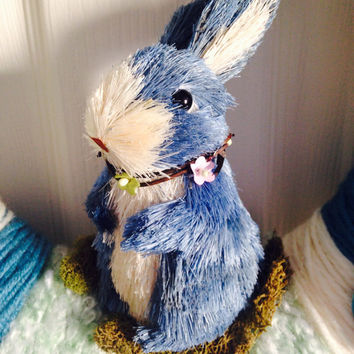 Bunny Wreath-Easter Wreath-Yarn Wreath-Spring Wreath- Easter Bunny-Baby Shower Wreath-Boy's Birthday-Girl's Birthday-Blue Bunny