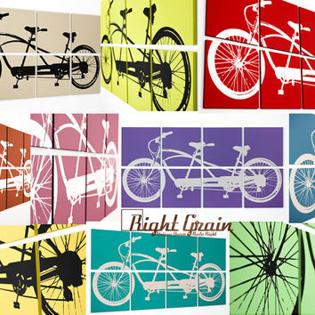 Tandem Bicycle Painting - Large Bike Screen Print - 24x48 Custom Made