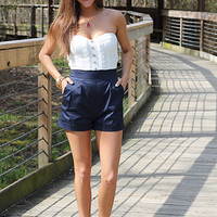 Lacey Lady Romper, blue/white