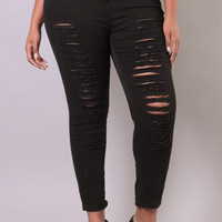 Plus Size Super Destroyed Stretch Jean - Black