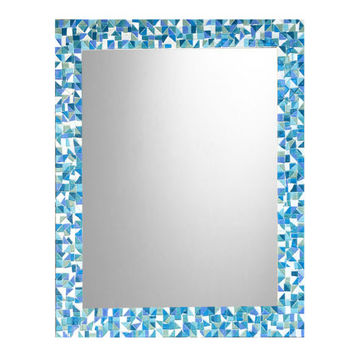 Bathroom Mirror, Mosaic Wall Mirror, Blue Aqua Teal Turquoise, Beach House Decor