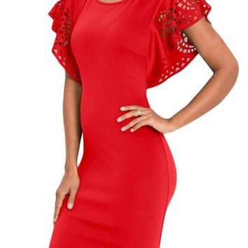 Red Hollow Out Cloak Sleeve Bodycon Mini Dress