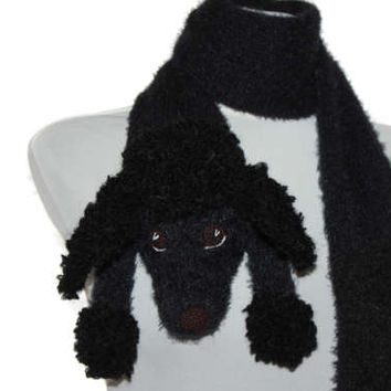 Black poodle portrait / Knitted black poodle scarf / Fuzzy Soft Scarf / dog scarf / knit dog scarf / animal scarf / Pet portrait