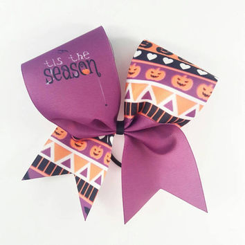 Tis The Season Spider Cheer Bow - 3 Inch Texas Sized - Halloween Party - Theme Practice - Birthday Gift - Ponytail Accessory - Fall