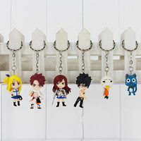Fairy Tail keychain Figure Model and Retail (6 pcs set) Natsu Happy Lucy Gray Elza Fairy Tail Toy Action Figures