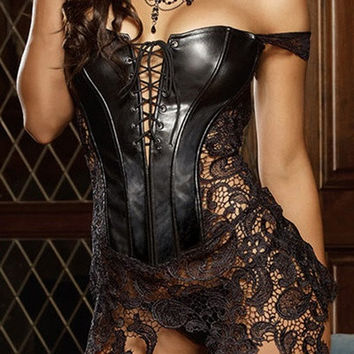 Women Faux Leather Lace Top Mini Skirt Corset Lingerie S-2XL = 1932548420