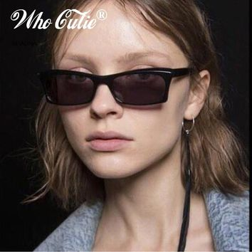 WHO CUTIE 2018 Small Rectangle Sunglasses Women Brand Designer Men Retro Vintage Narrow Skinny Rectangular Frame Sun Glasses 602