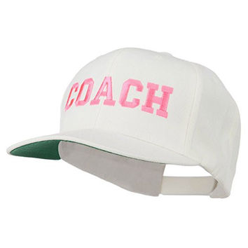 Women's Coach Embroidered Flat Bill Cap - Natural OSFM