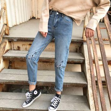 DCCK8H2 High Waist Jeans Women 2017 Spring Cat Embroidery Jeans Female American Apparel Mom Boyfriend Jeans Femme Women Pants