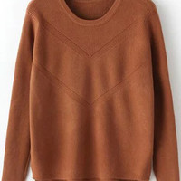 Coffee Slit Long Sleeve Sweater