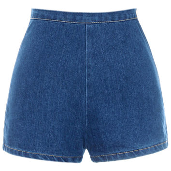 ROMWE Sheer Color Blue Bodycon Denim Shorts