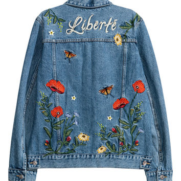 Embroidered denim jacket - Denim blue - Ladies | H&M GB