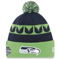 New Era Seattle Seahawks Super Bowl XLVIII Champions Knit Hat - Neon Green/College Navy