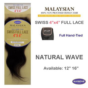"100% HUMAN HAIR- SWISS FULL LACE 4"" x 4"" CLOSURE - NATURAL WAVE- 12"""
