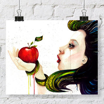 Temptation watercolor painting with green snake on red apple crying girl sad girl holding apple watercolor artwork gifts for christmas