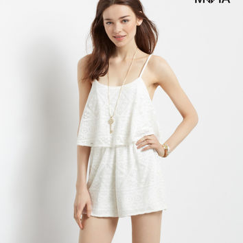 Geometric Lace Tiered Romper