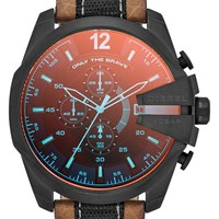 Men's DIESEL 'Mega Chief' Leather Strap Watch, 51mm - Salt Flat Racer