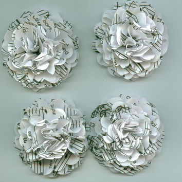 White Music Sheet Carnation Paper Flowers for by crazy2becrazy