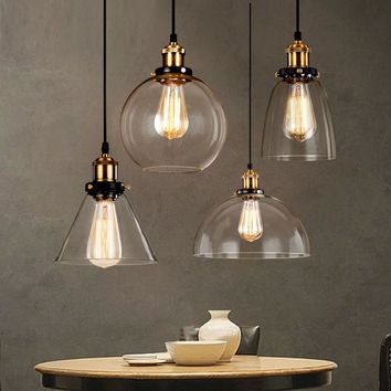 Loft RH Vintage Pendant Lights Glass Industrial Pendant Lamps Metal Retro Lustres Hanging Fixtures luminaire suspendu E27 D98 1 2