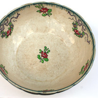 Vintage 1930s French Longwy Mixing Serving Bowl