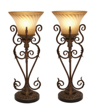 Casa Cortes Buckingham Torchiere 30-inch Iron Table Lamps (Set of 2)