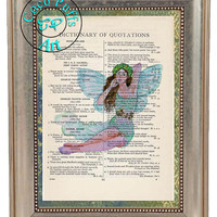 Blue Winged Fairy Art Beautifully Upcycled Vintage Dictionary Page Book Art Print, Fantasy Print