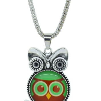 Brown Green Owl pendant necklace in Jewelry Vintage Sterling Silver