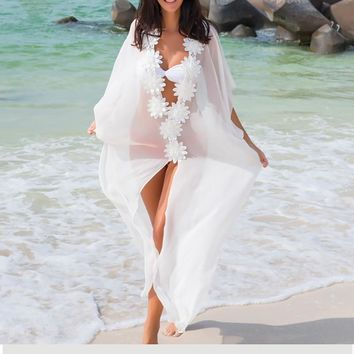 Jeebel White Chiffon Cover Up Beach Dress Lace Tunic Pareos Swimwear Women 2018 Robe Chiffon