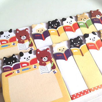 Reading book sticky memo student sticky flag life planner accessories baby animal panda puppy dog cat teddy bear sticky note cute gift