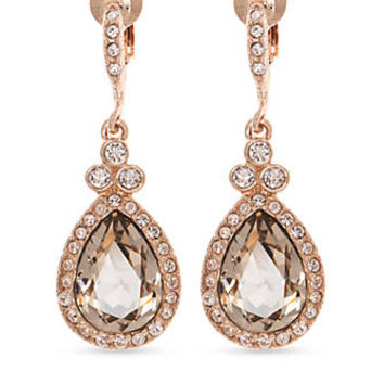 Givenchy Rose Gold Tone Stone Drop Clip Earrings