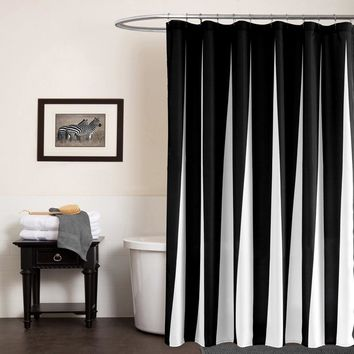 Modern Polyester Shower Curtains Black White Striped Printed Wat
