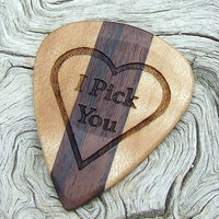 Premium Wood Guitar Pick - 2 Sided Design - Handmade with Bolivian Rosewood and Hard Maple