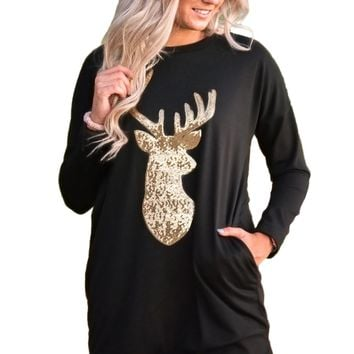 Chicloth Sparkling Gold Sequin Reindeer Black Christmas Top