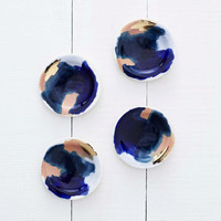 Canyon Series: Glacier Hand Painted Porcelain Small Dipping Plates with 14K Gold Luster- Set of 4