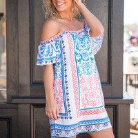 Come With Me Dress, White-Cobalt