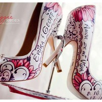 Wedding Shoes | Calligraphy by Jennifer