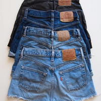 Custom Made to Order Classic Distressed High waisted Denim Shorts