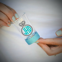 Monogrammed Ring - Bridal Party Glittered Shot Glass