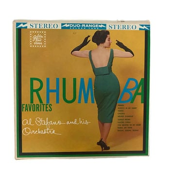 60s Record Album Rhumba Favorites 1960 Al Stefano Golden Tone Mid Century Era Home Decor Taboo Jungle Drums Latin Music 12 Inch Vinyl Record
