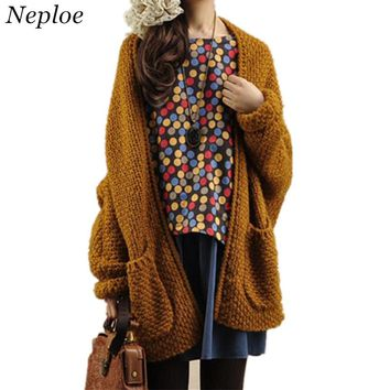 Neploe Solid Women Cardigans Japanese New Fashion Pockets Patchwork Sweaters Long Sleeve Casual Loose Knitted Sweater 67051