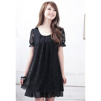 Black Lace Chiffon Mini Dress