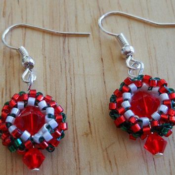 Christmas Wreath Earrings with Swarovski Bicones