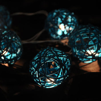 20 x blue water color  rattan wood handmade ball string light beautiful decoration furniture Bali patio party living room decor Asian