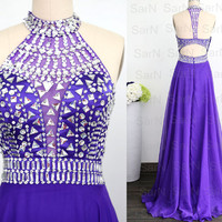 Purple Formal Gown, Chiffon Crystal Special Occasion Dresses, Crystal Prom Dresses, Halter with Crystals A Line Prom Gown