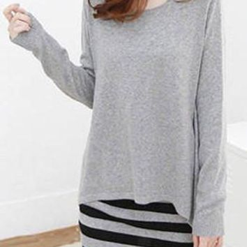 Gray Asymmetric Long Sleeve Top and Striped Dress Set