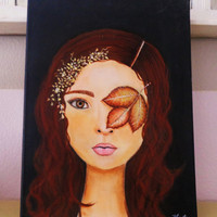 Wood Nymph or Fairy? Mixed Media Painting. Red Hair Brown Eyes Wall Art. Original Artwork on Canvas.