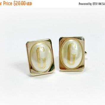 Vintage Cufflinks Monogrammed Letter G SWANK Rectangular Large Oval Domed Faux Pearl with G Monogrammed onto the Pearl Nicer in Person