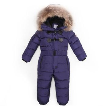 3~6T Russian Winter Baby Down Romper Girls Catsuit Outdoor Overalls for Boy  Kids Snow Outfit Bebe Real Animal Fur Hood Rompers