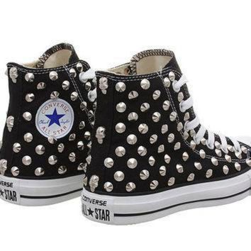 DCCK1IN studded converse black converse with silver cone rivet studs by customduo on etsy